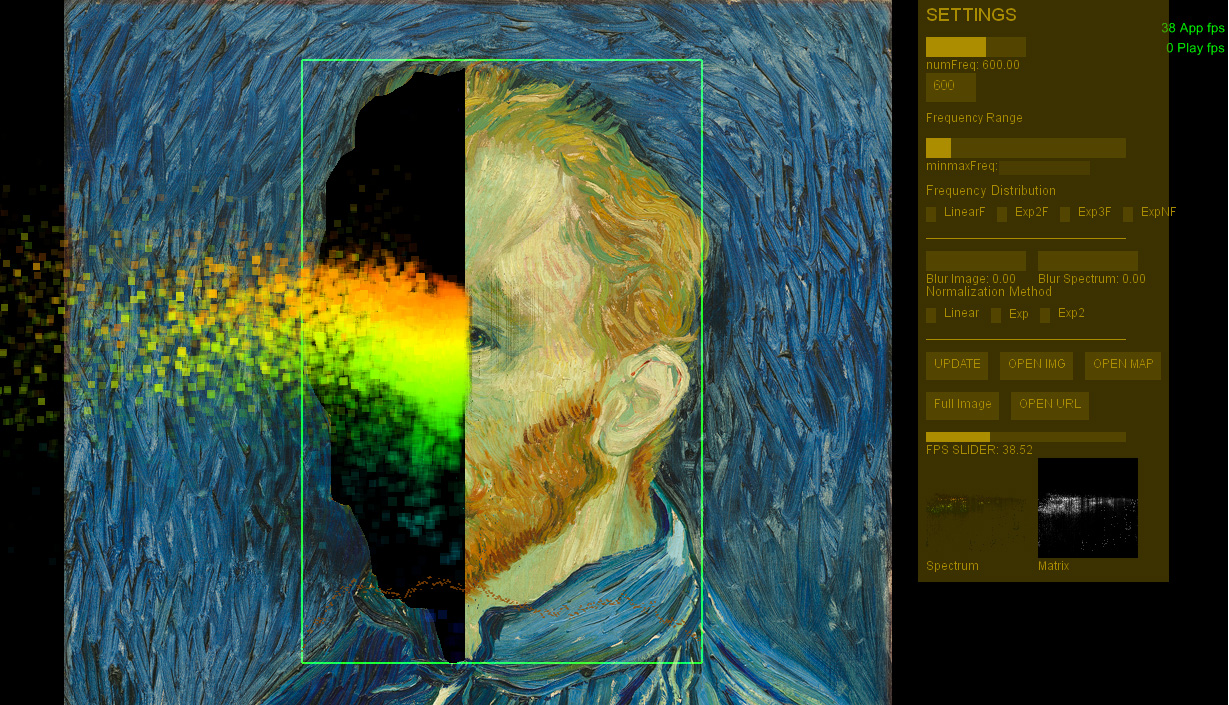 Screenshot of the software that image analyzes the image.