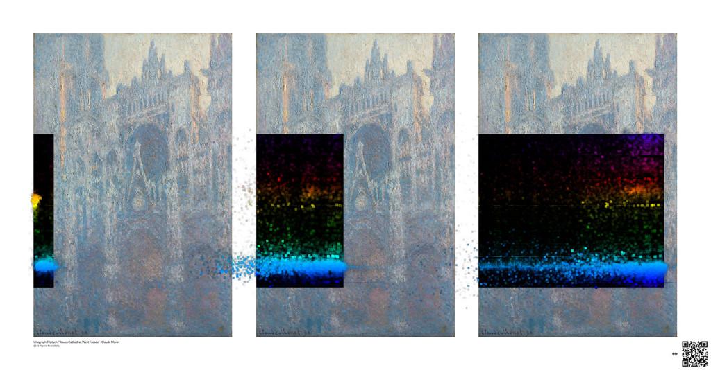 "Yiannis Kranidiotis, ""Ichograph Triptych – Monet"", 2015, Giclée print on paper (150 cm x 78 cm)"