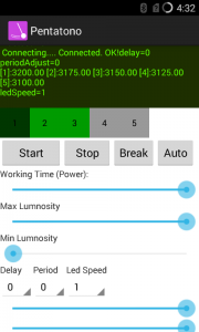 Screenshot of the android app that was developed to play the sounds and control the installation.